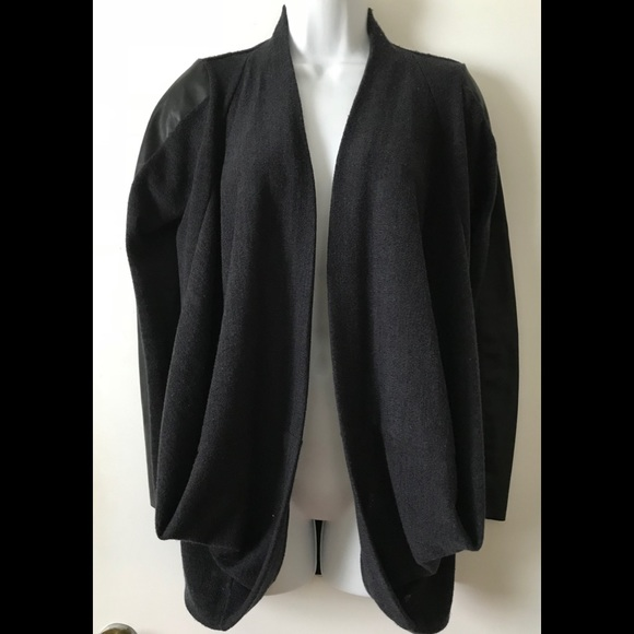 Zara Sweaters W B Collection Sweater Leather Faux Sleeves Poshmark